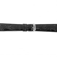 Extra long leather watch strap, crocodile finish - steel buckle