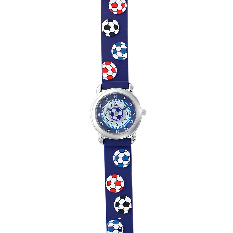Football theme, blue children's watch with metal case and silicone strap