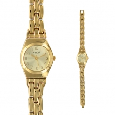 Gold coloured ladies\\\' watch with round face and matching metal strap