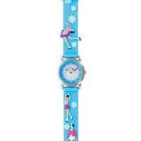 Ice skating theme children\'s watch with metal case and blue silicon strap with snowflakes