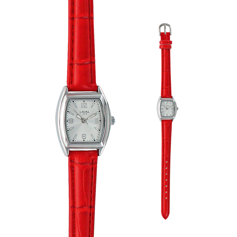 Ladies' watch with rounded square metal case and red man-made bracelet