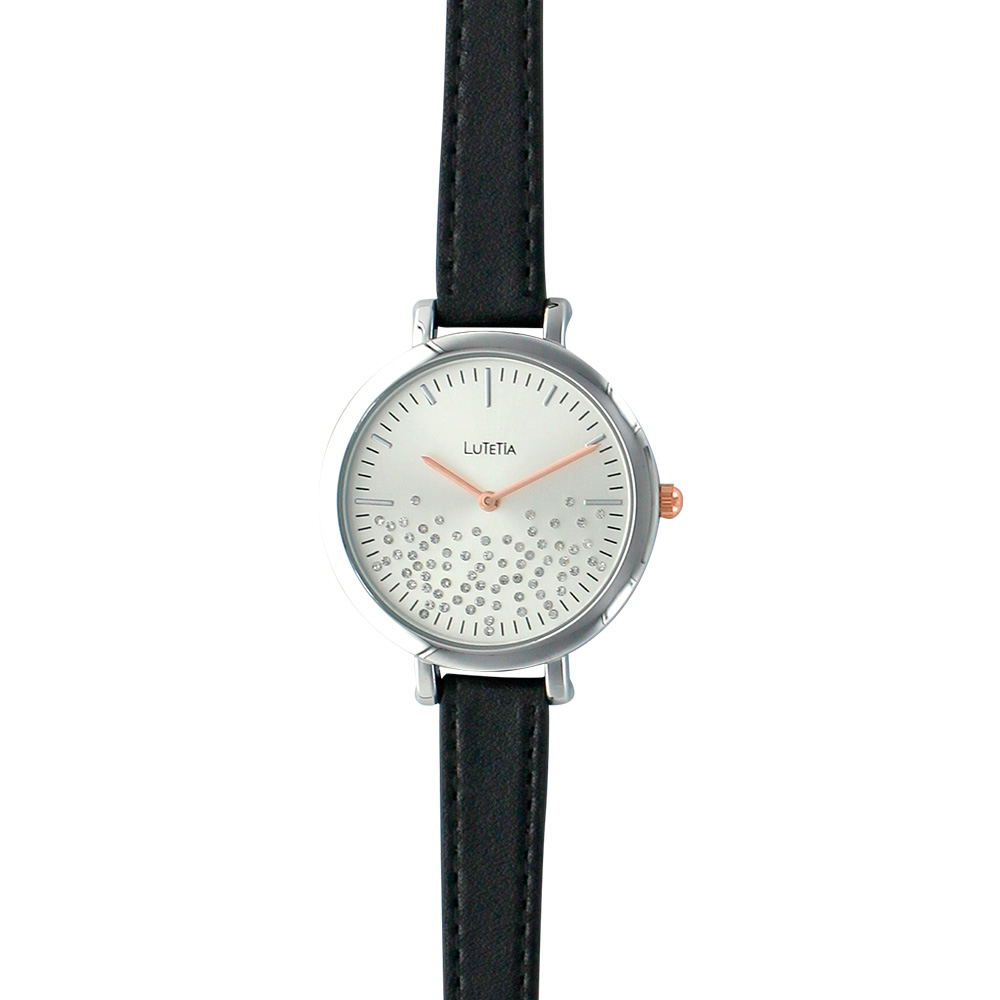 Lutetia ladies' watch, metal case, black man-made strap  and dial with synthetic stones
