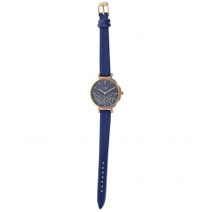 Lutetia ladies\' watch, rose-gold metal case, blue man-made strap  and dial set with synthetic stones