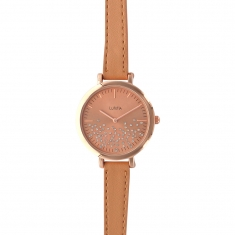 Lutetia ladies\' watch, rose-gold metal case, taupe man-made strap  and dial with synthetic stones