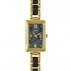 Lutetia rectangular gold metal watch set with synthetic stones, two-tone metal bracelet