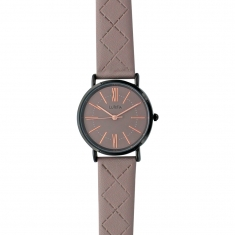 Lutetia watch with black metal case and taupe coloured dial and stitched strap