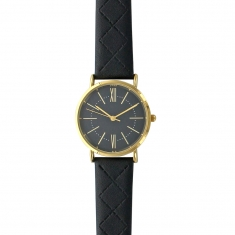 Lutetia watch with gold coloured metal case, black coloured dial and stitched strap