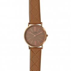 Lutetia watch with gold coloured metal case, brown dial and matching stitched strap