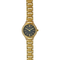 Lutetia watch with gold-coloured metal strap and case set with synthetic stones, black dial