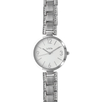 Lutetia watch with metal case and strap set with synthetic stones, white dial