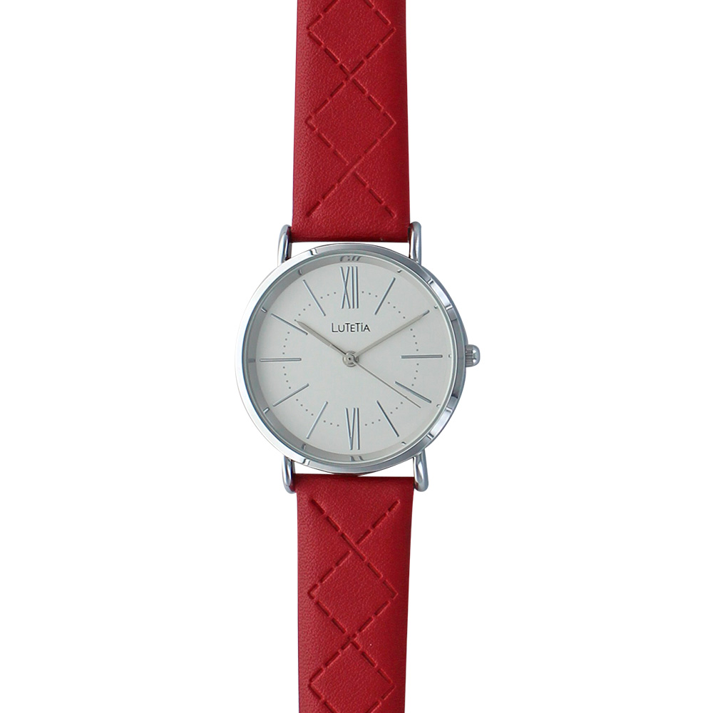 Lutetia watch with metal case, white dial and bordeaux coloured man-made stitched strap