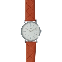 Lutetia watch with metal case, white dial and brown patterned man-made strap