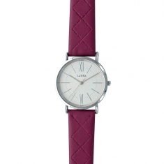 Lutetia watch with metal case, white dial and plum coloured man-made stitched strap