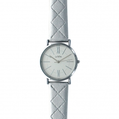 Lutetia watch with metal case, white dial and silver coloured patterned man-made strap