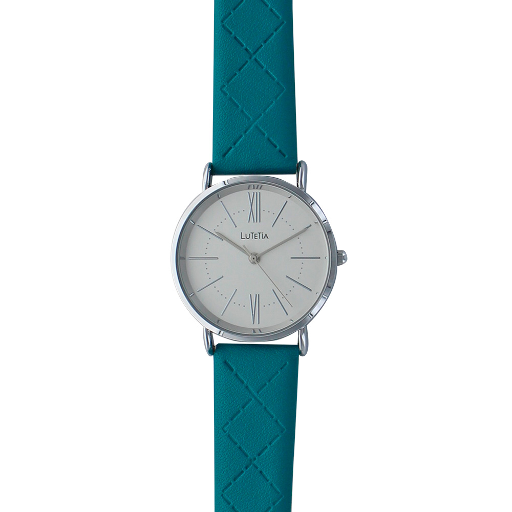 Lutetia watch with metal case, white dial and teal man-made stitched strap