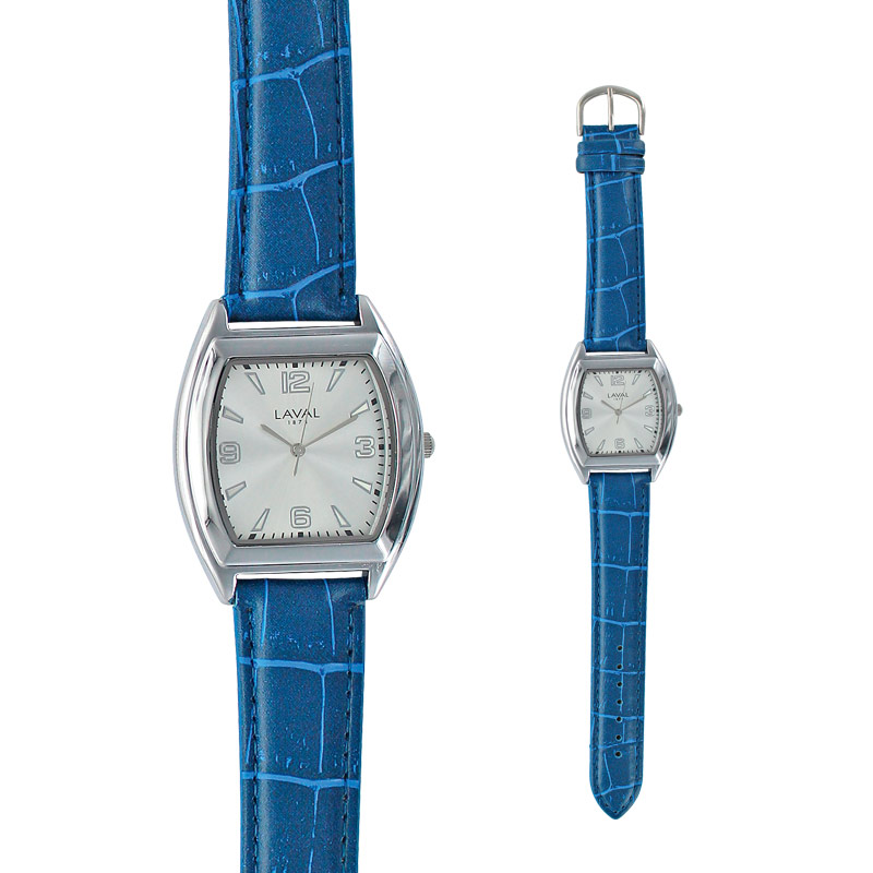 Men's watch with rounded square metal case, navy man-made strap