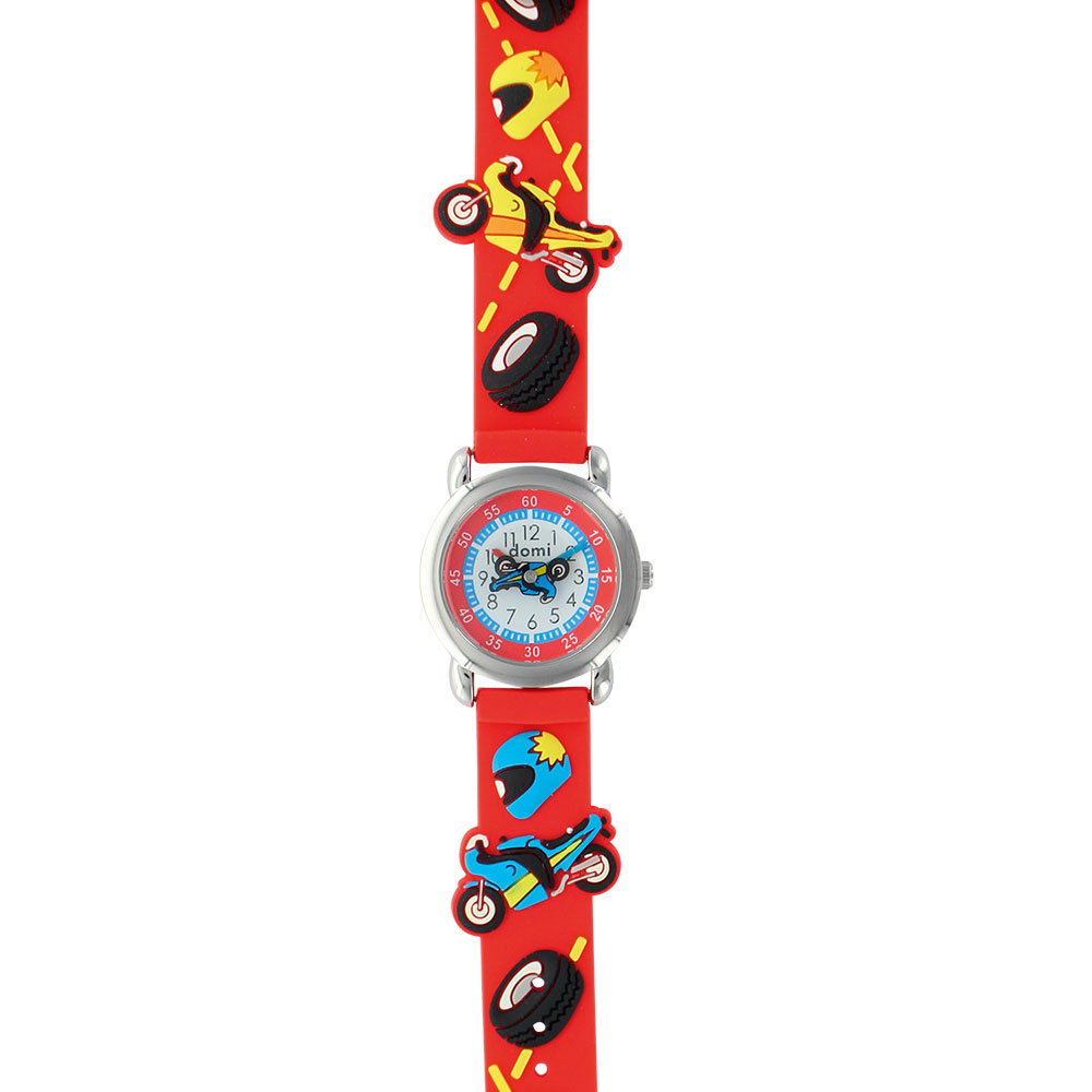 Motorbike theme children's watch with metal case and red silicon strap