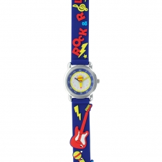 Rock guitar theme children\'s watch with metal case and navy silicon strap