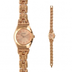 Rose-gold coloured ladies\\\' watch with round face and matching metal strap