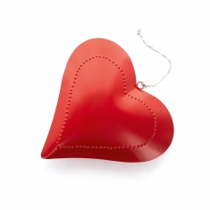 Large red metal heart to hang with dotted heart outline detail 20cm