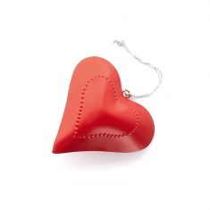 Medium sized red metal heart to hang with dotted heart motif 15cm