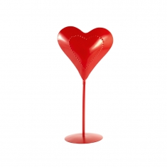 Red metal heart on pedestal with dotted heart motif - 30cm
