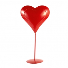 Red metal heart with dotted heart outline on pedestal - 40cm