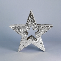 Shiny silver hammered finish metal standing star 22cm