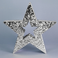 Shiny silver hammered finish metal standing star 27.5cm