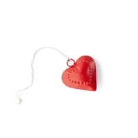 Small red metal heart to hang with dotted heart outline 6cm